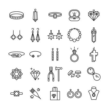 Jewelry shop symbols. Wedding ring, necklace jeweler earrings. Stockfoto