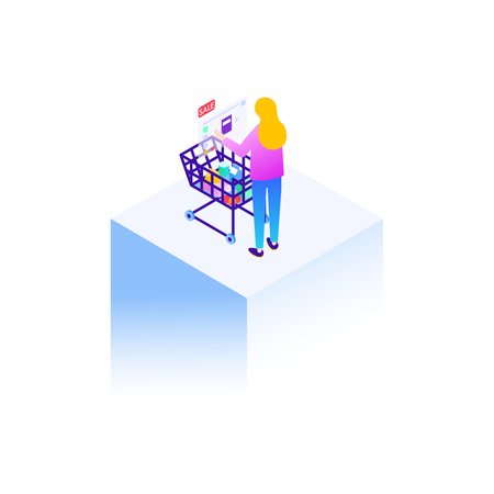 Woman at shopping with virtual augmented reality technology. Isometric illustration.