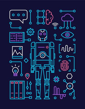 Icons of artificial intelligence, technologies of future