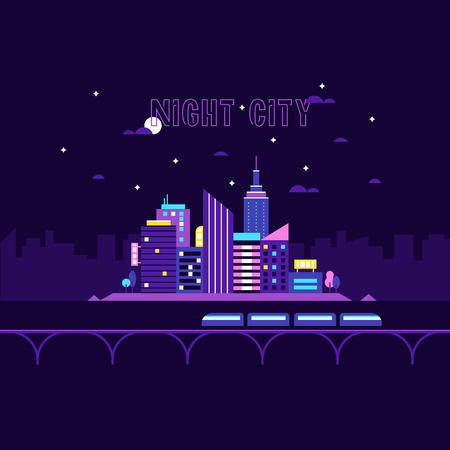 Retro and cyberpunk night city. Business center with skyscrapers. Stock Illustratie