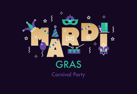 Fat Tuesday vector template with mask feathers, beads, drum, jester hat.