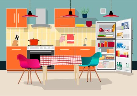modern living room: Modern kitchen Illustration