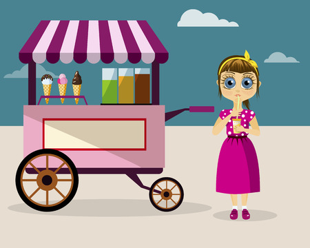 Girl drinking juice near candy booth Illustration