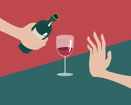 Rejecting the offered alcohol. No alcohol concept Illustration
