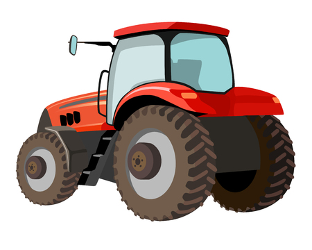 Isolated vector red tractor illustration Illustration