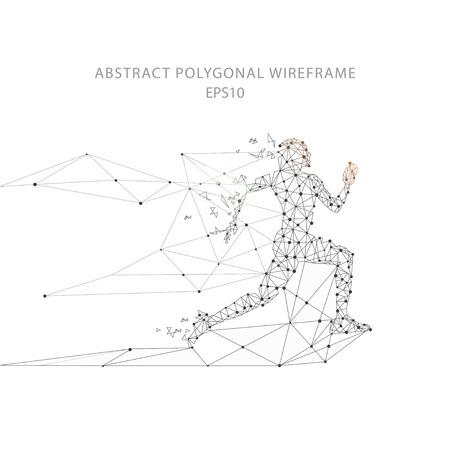 Laufende Mann futuristische Illustration niedrige Poly Drahtgitterform mit Verbindungspunkten und Linien auf weißem Hintergrund.