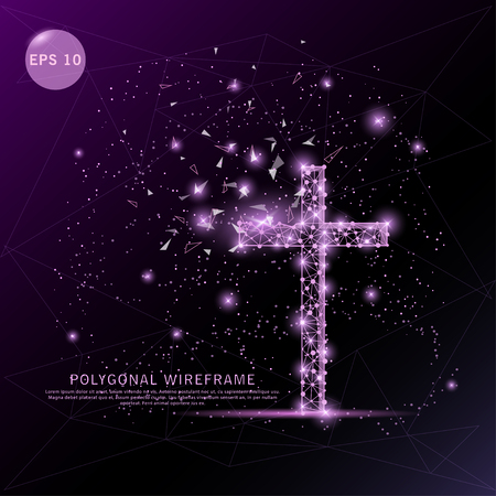 Religion cross digitally drawn futuristic low poly wire frame shape point, composition and lines vector illustration on purple background.