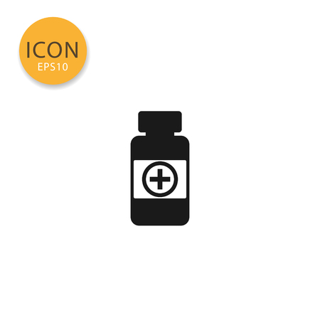 Medicine pills bottle icon flat style in black color vector illustration on white background.