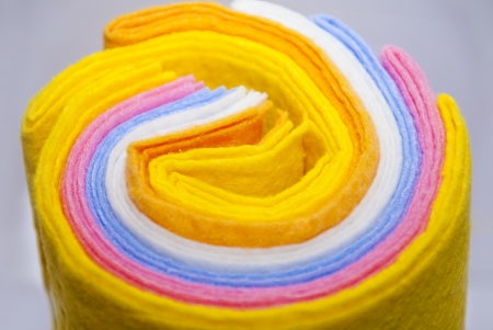 many colored viscose fabric in roll