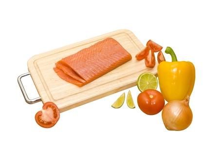 healthy cooking  salad with red fish and vegetables Stock Photo - 16500532