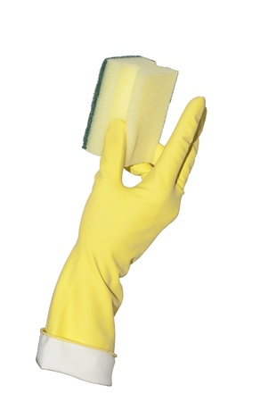 profiled: yellow glove holds profiled household sponge Stock Photo