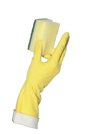 yellow glove holds profiled household sponge Stock Photo - 16500387