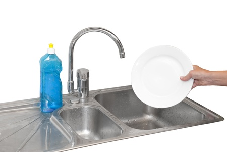 hands dishwashing plates with blue cleaner Stock Photo - 16500536