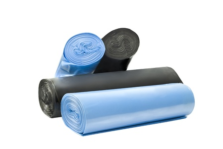 plastic degradable blue and black garbage bags photo