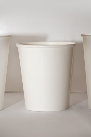 three  disposable paper cup for coffe or ice cream Stock Photo - 16500527