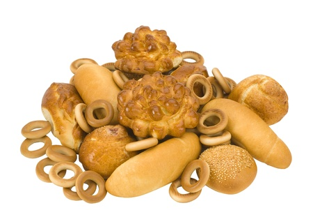 prodotti da forno: molti prodotti da forno d'oro su sfondo bianco Archivio Fotografico