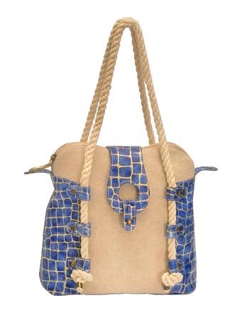 women sea style handbag with slider on white Stock Photo - 16537523