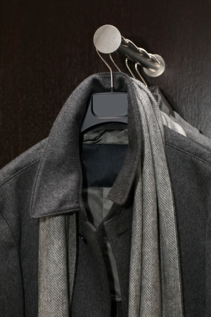 male gray coat with a scarf Stock Photo - 16563583
