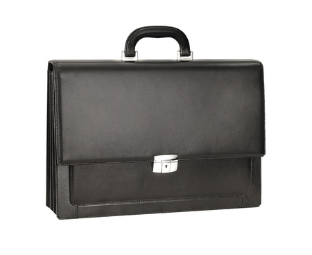 Mens black leather briefcase for documents
