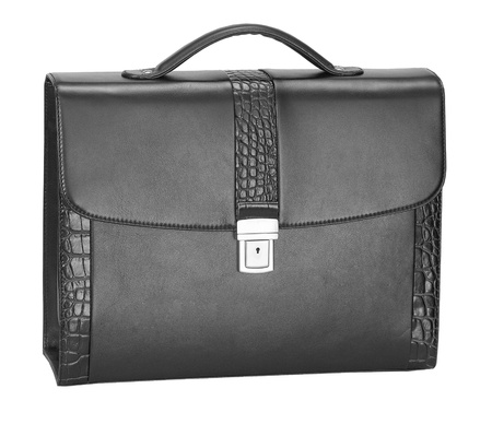 Men's black leather crocodile  briefcase for documents and notebook Stock Photo - 16592738