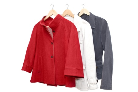 three women jackets on shoulders in store Stock Photo - 16592705