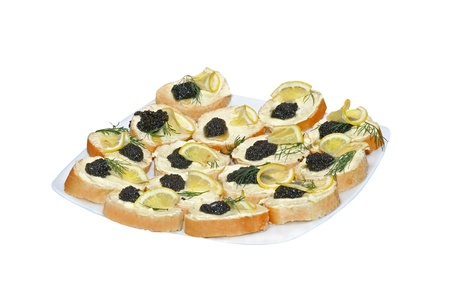 much sandwiches with black caviar