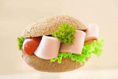 sandwich with brown bread and sausage Stock Photo