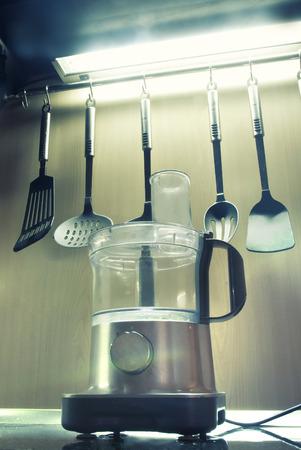 professional food processor at modern kitchen