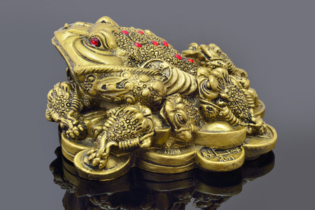 Feng Shui golden money toad sitting on mirror photo