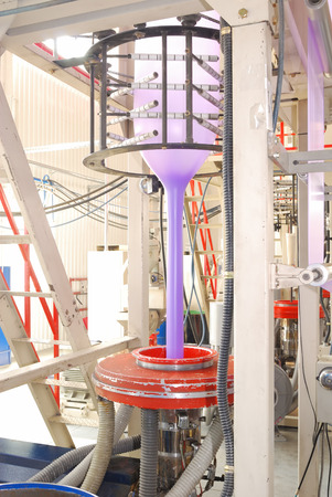 polyethylene: equipment  for blowing-out polyethylene production in fabric Stock Photo