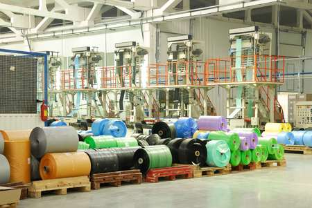polythene: rolls  color polythene production  fabric Editorial
