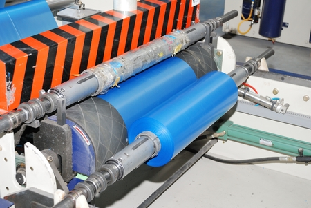 wounding roll of blue polyethylene Stock Photo