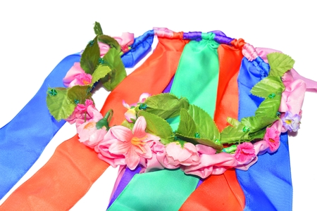 circlet: color circlet of flowers with long ribbons