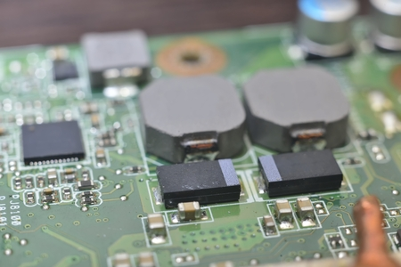 information processing system: Anatomy of computer equipment (green microcircuit) Stock Photo