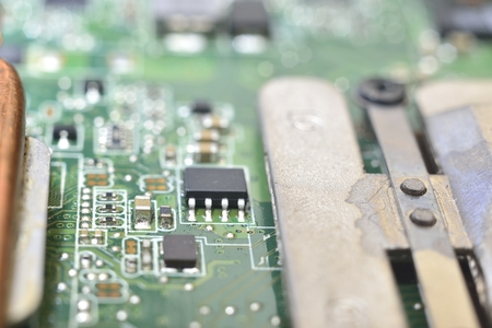 information processing system: structure of computer equipment (green microcircuit) Stock Photo