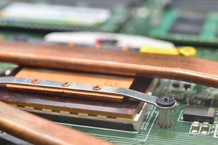 information processing system: mounting radiator for cpu on motebook matherboard
