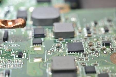 planar: Anatomy of computer equipment (green microcircuit) Stock Photo