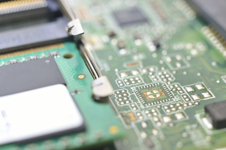 nonlinear: random access memory on matherboard (memory controller hub) Stock Photo