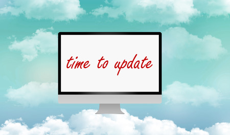 updating: time to update your computer by cloud ( computer over clouds) Stock Photo