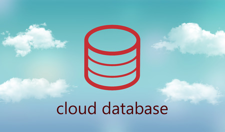 it technology: cloud database illustration ( icon of database on cloudy background )