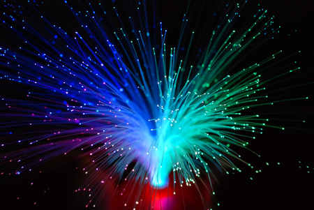 abstract blur background of green and blue optic fiber