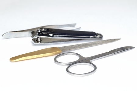 metal manicure set ( scissors, nail file, tweezers ) Фото со стока - 44179121