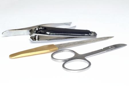 tweezers: set de manicura de metal (tijeras, lima de u�as, pinzas)