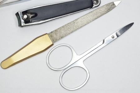 metal manicure set ( scissors, nail file, tweezers ) Фото со стока - 44179379