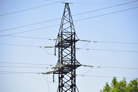 electricity pole: electricity pole ( High-voltage transmission line ) Stock Photo