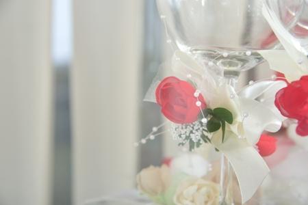 wedding glasses (shiny wedding background with decorated glasses)