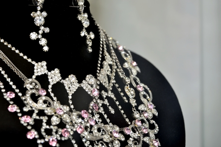 bijouterie: bijouterie, wedding Jewelry. shiny necklace and bead around your neck