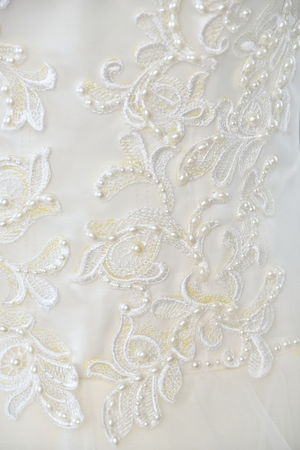 white wedding background (embroidery on cloth with beads)