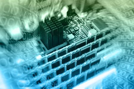 microcircuit: digital world  background (microcircuit, RAM and radiator)