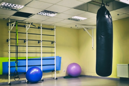 wall bars with fitness balls, gymnastic tape (trx) in Fitness Centre